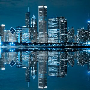 Chicago skyline in blue light